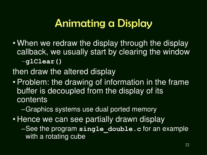 Animating a Display
