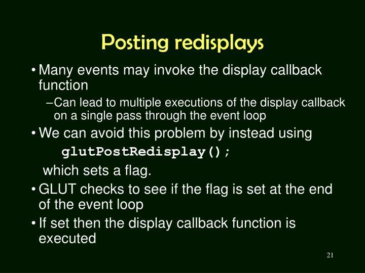 Posting redisplays