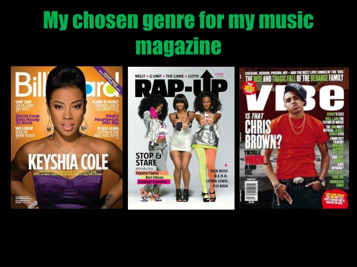My chosen genre for my music magazine