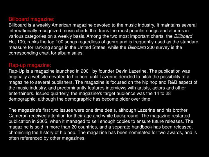 Billboard magazine:
