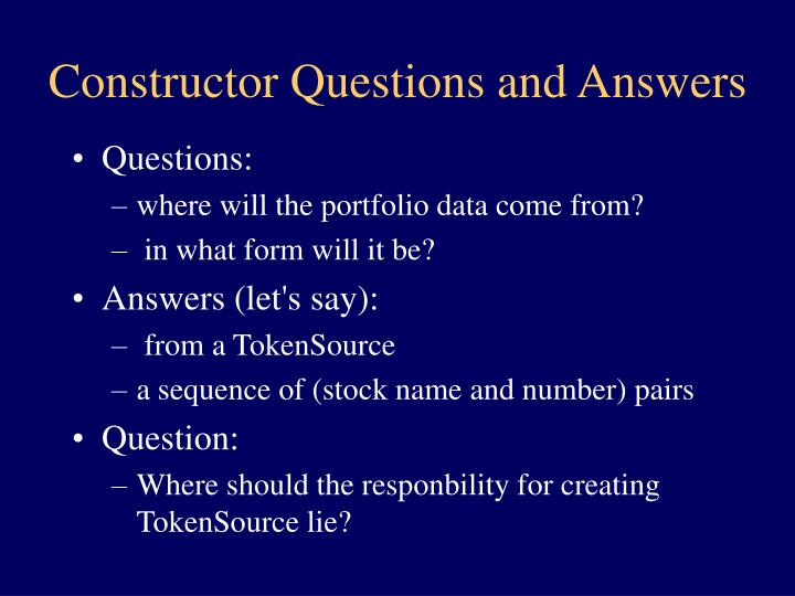 Constructor Questions and Answers