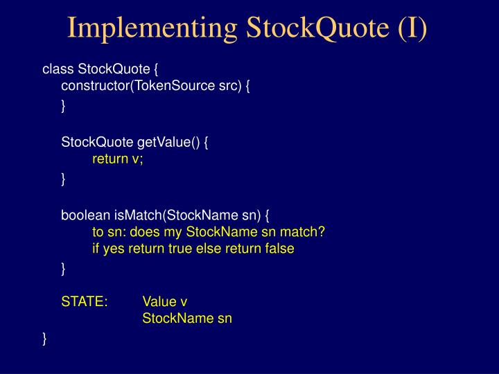 Implementing StockQuote (I)