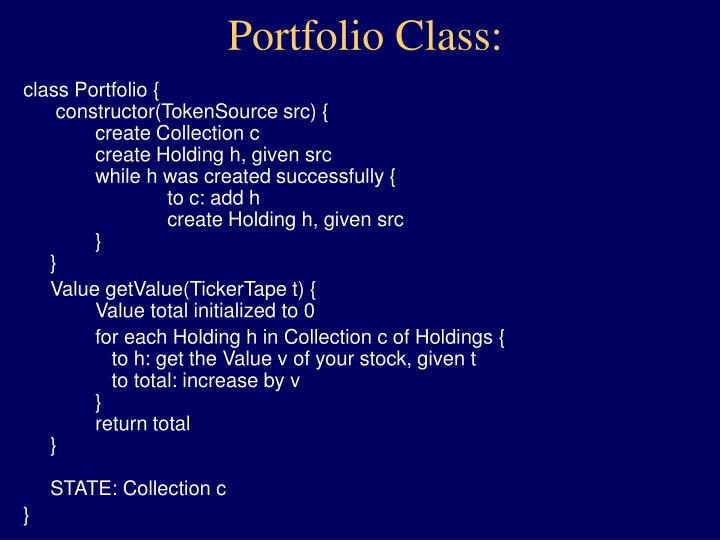 Portfolio Class: