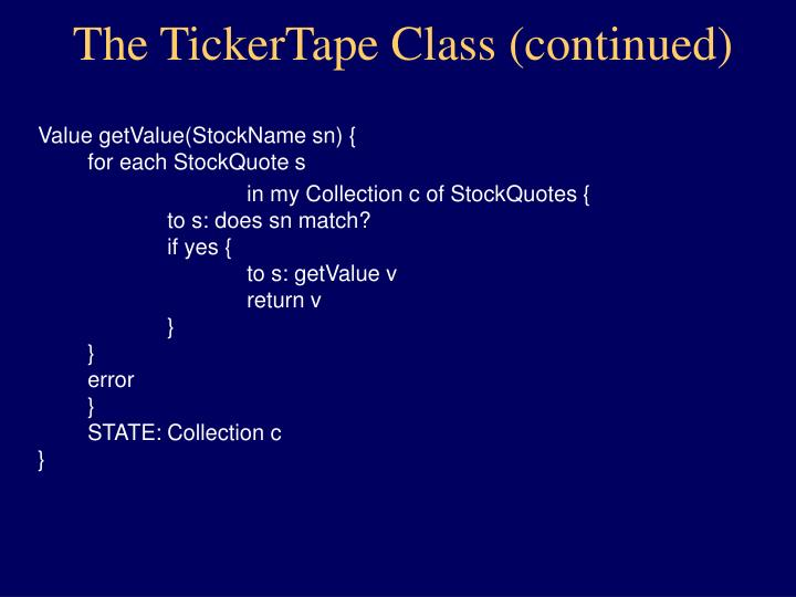 The TickerTape Class (continued)