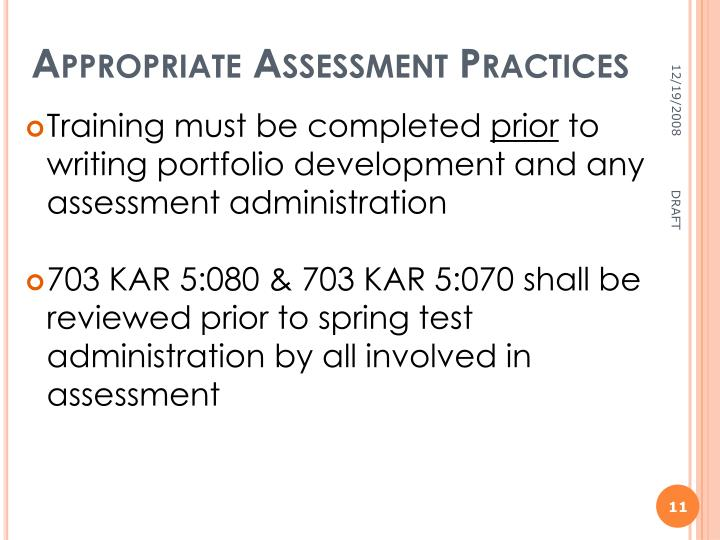 Appropriate Assessment Practices