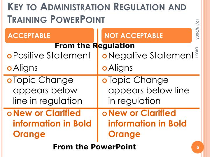 Key to Administration Regulation and Training PowerPoint