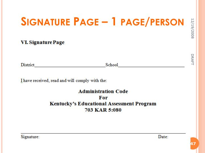 Signature Page – 1 page/person