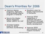 dean s priorities for 2006
