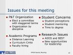 issues for this meeting
