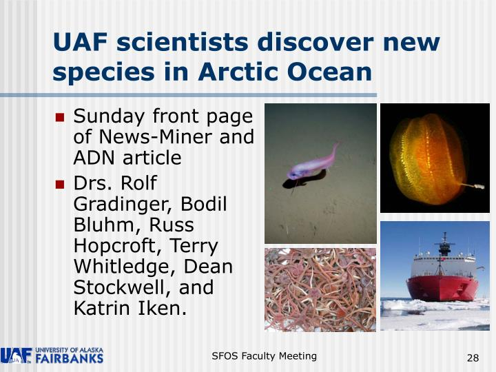 UAF scientists discover new species in Arctic Ocean