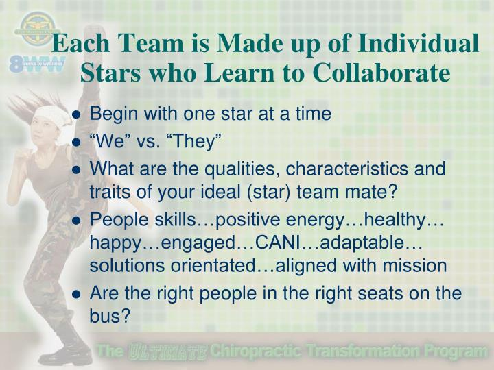 Each Team is Made up of Individual Stars who Learn to Collaborate