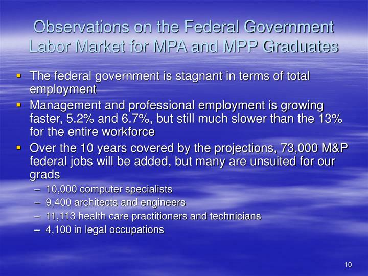 Observations on the Federal Government Labor Market for MPA and MPP Graduates
