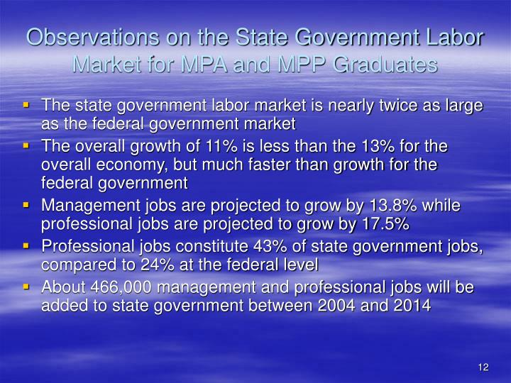 Observations on the State Government Labor Market for MPA and MPP Graduates