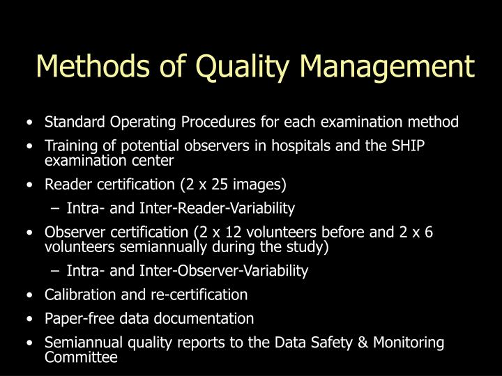 Methods of Quality Management