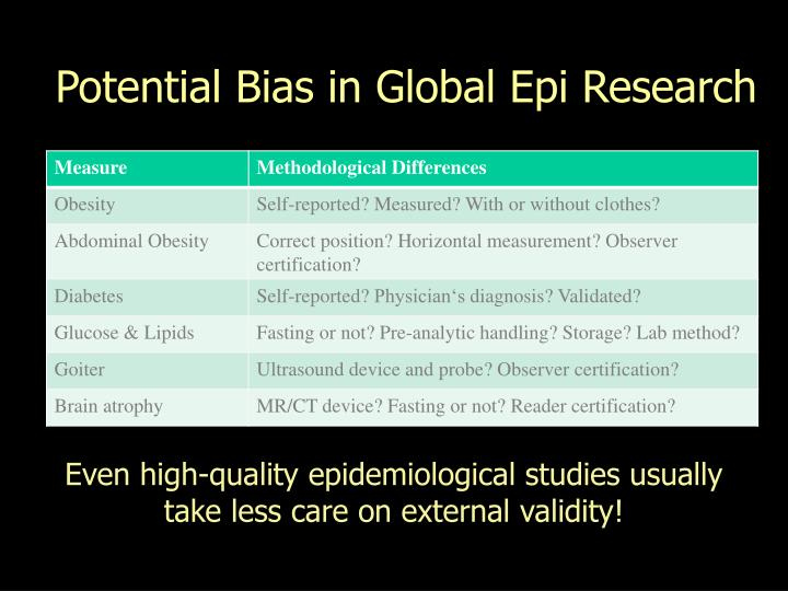 Potential Bias in Global Epi Research