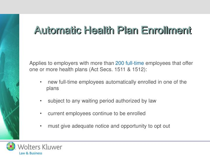 Automatic Health Plan Enrollment
