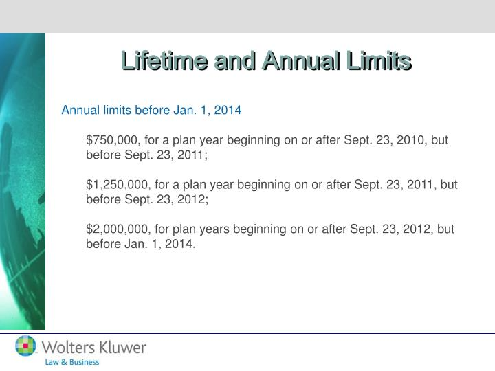 Lifetime and Annual Limits