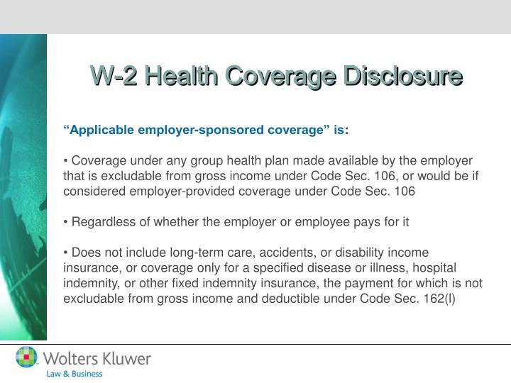 W-2 Health Coverage Disclosure