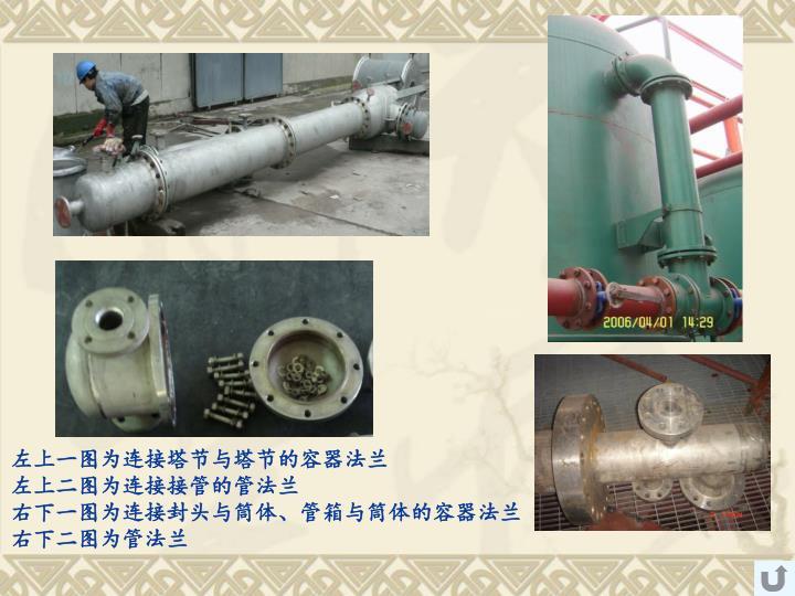 左上一图为连接塔节与塔节的容器法兰