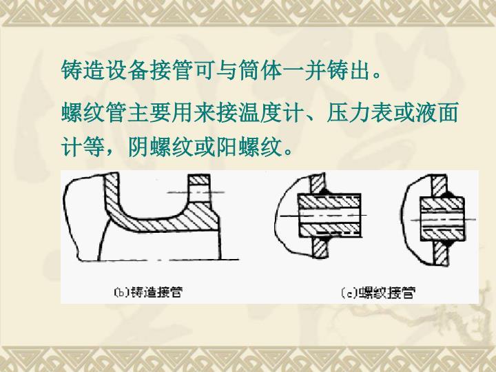 铸造设备接管可与筒体一并铸出。