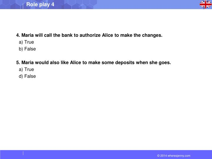 4. Maria will call the bank to authorize Alice to make the changes.