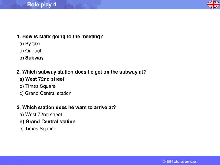 1. How is Mark going to the meeting?