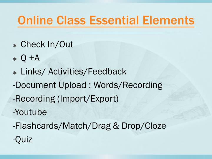 Online class essential elements