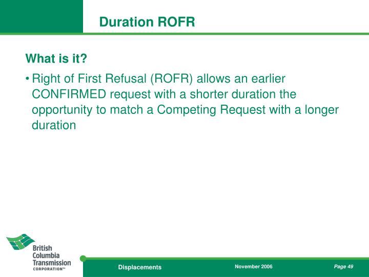 Duration ROFR