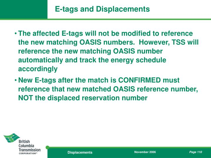 E-tags and Displacements