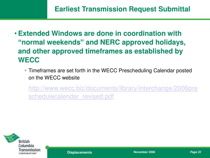 Earliest Transmission Request Submittal