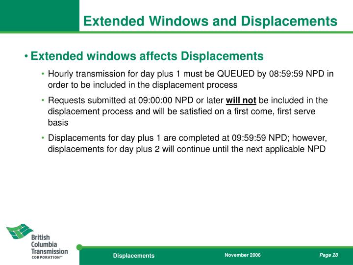 Extended Windows and Displacements