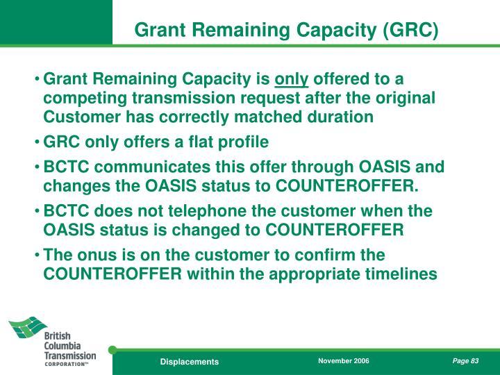 Grant Remaining Capacity (GRC)