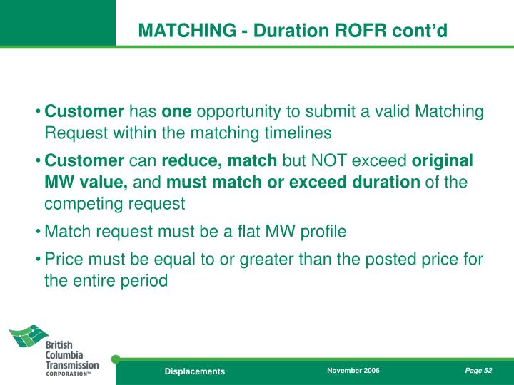 MATCHING - Duration ROFR cont'd