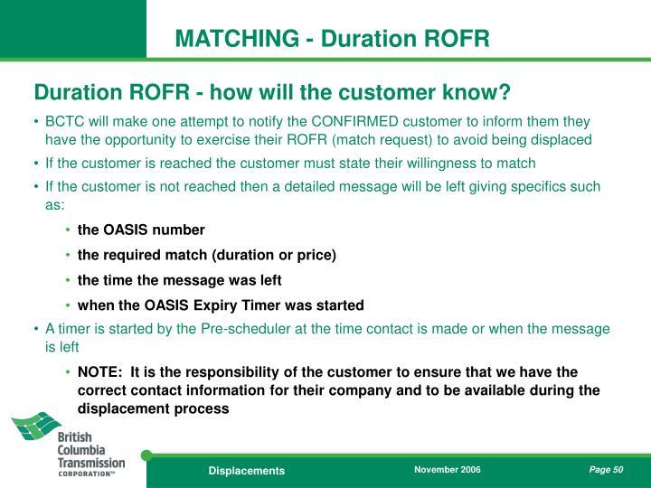 MATCHING - Duration ROFR