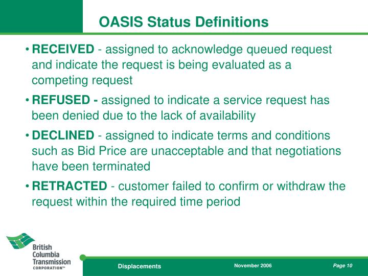 OASIS Status Definitions
