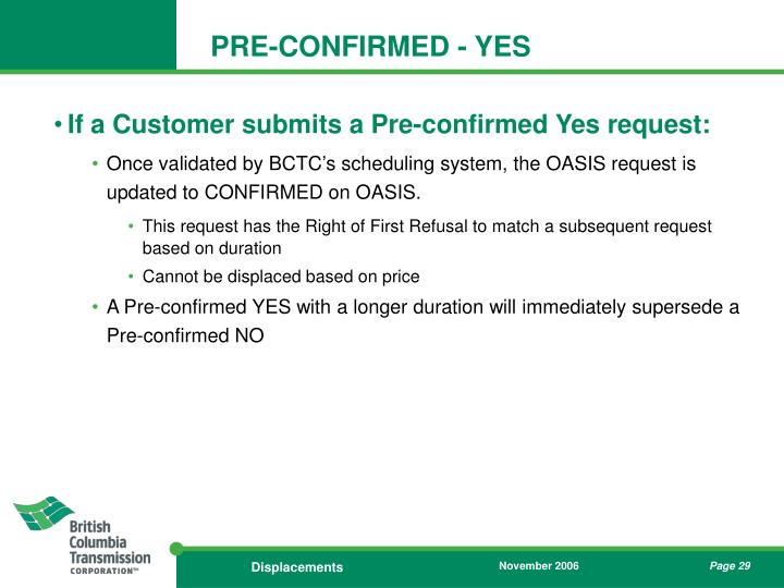 PRE-CONFIRMED - YES