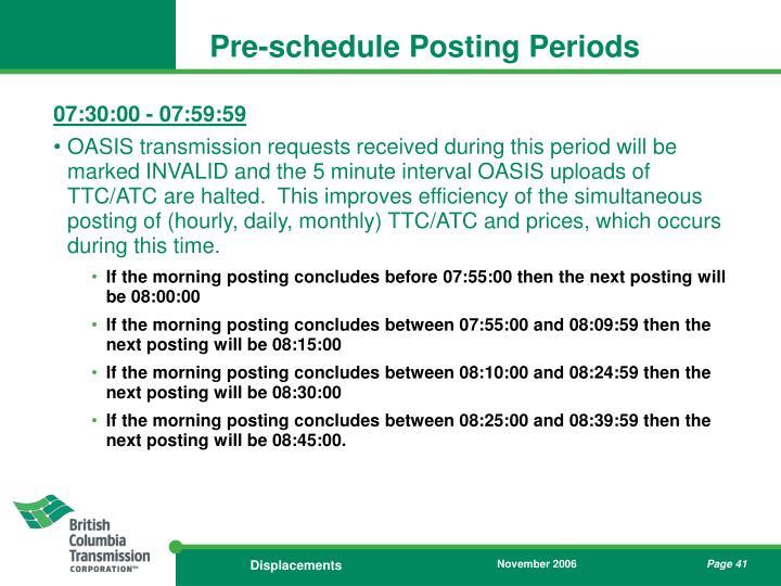 Pre-schedule Posting Periods