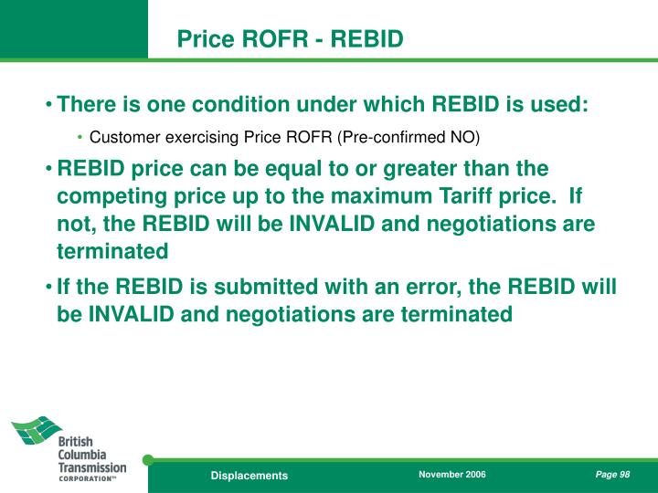 Price ROFR - REBID