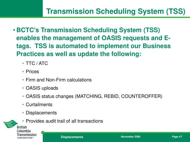 Transmission Scheduling System (TSS)