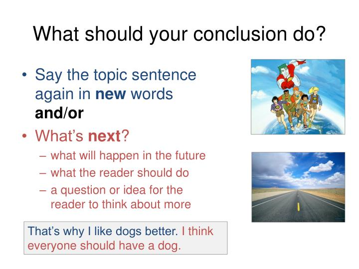 What should your conclusion do?