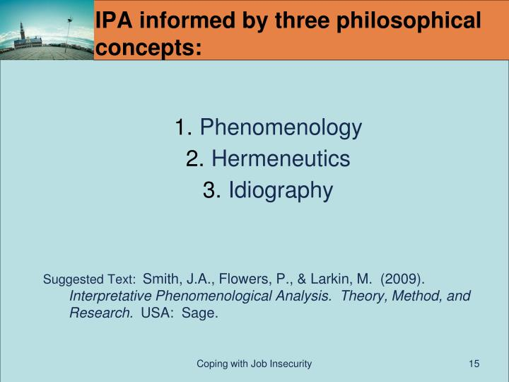 IPA informed by three philosophical concepts: