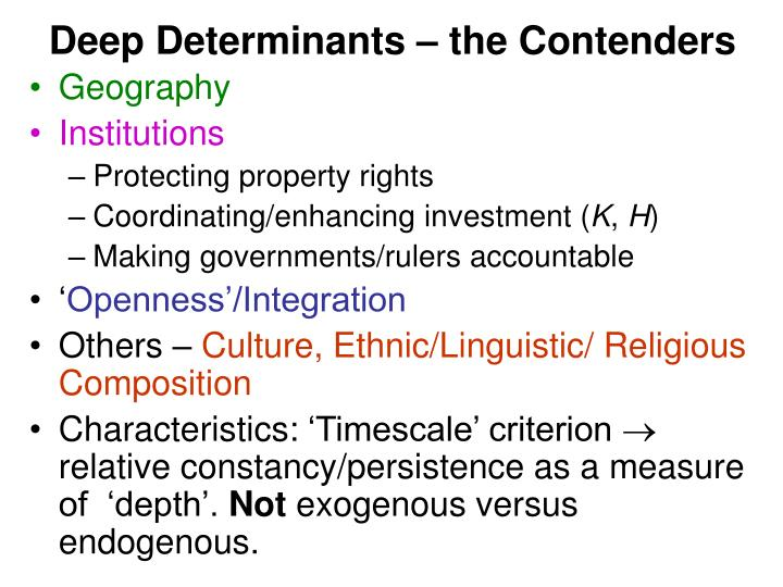 Deep Determinants – the Contenders