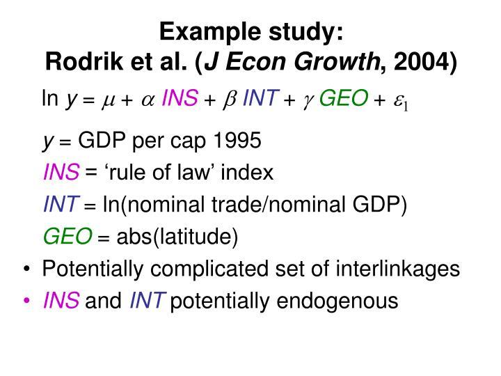 Example study: