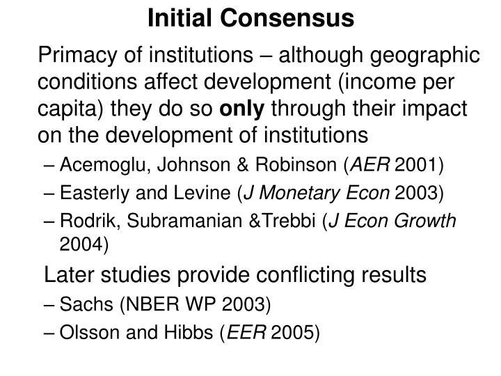 Initial Consensus