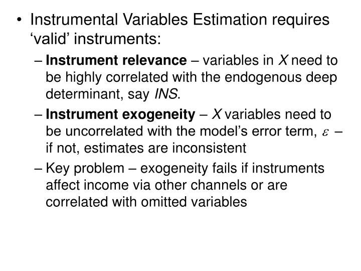 Instrumental Variables Estimation requires 'valid' instruments: