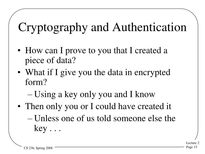 Cryptography and Authentication