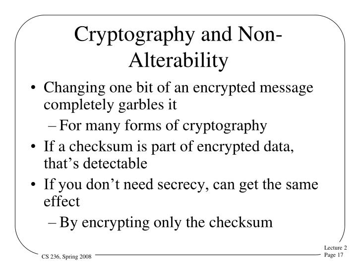 Cryptography and Non-Alterability