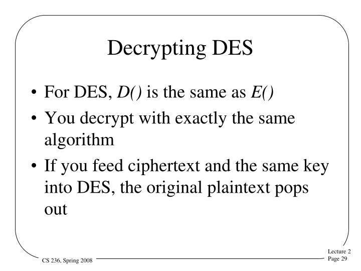Decrypting DES