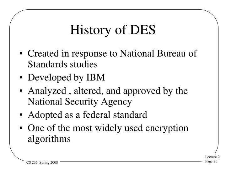 History of DES