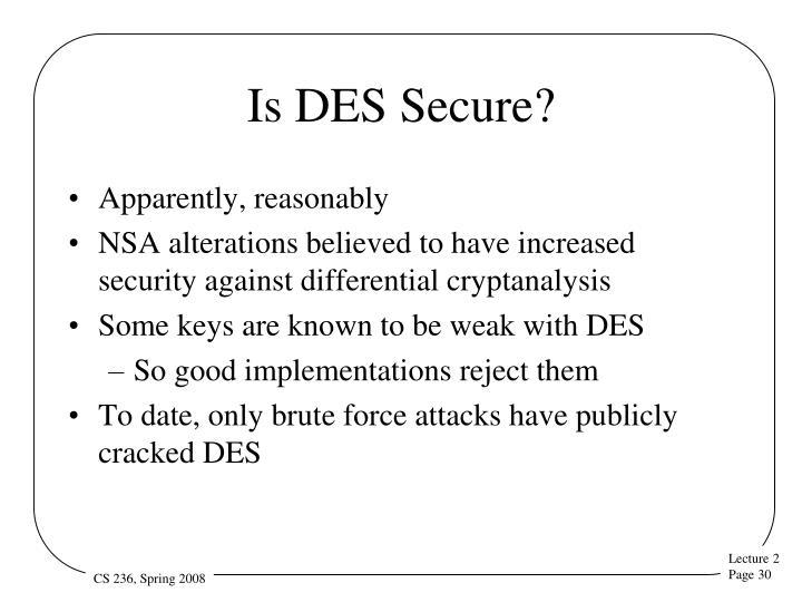 Is DES Secure?